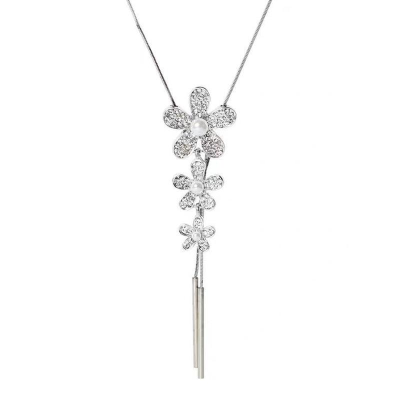 fashion flower crystal necklace NHVA307765