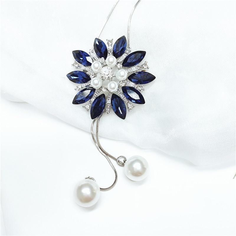 fashion diamond flower necklace NHVA307768