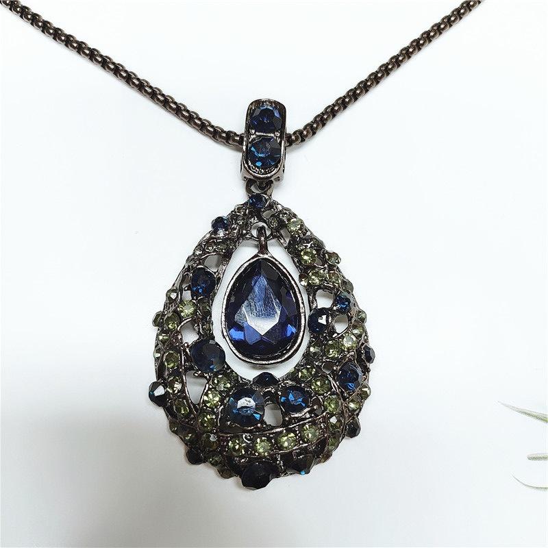 fashion water drop diamond flower necklace NHVA307770