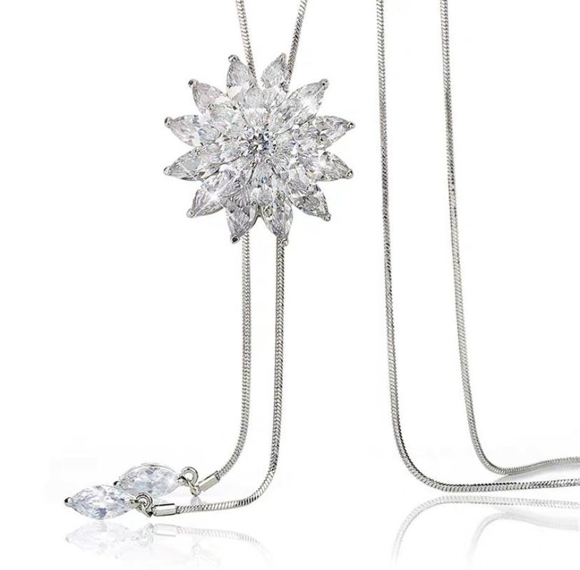 flowers full of diamond necklace wholesale NHVA307771