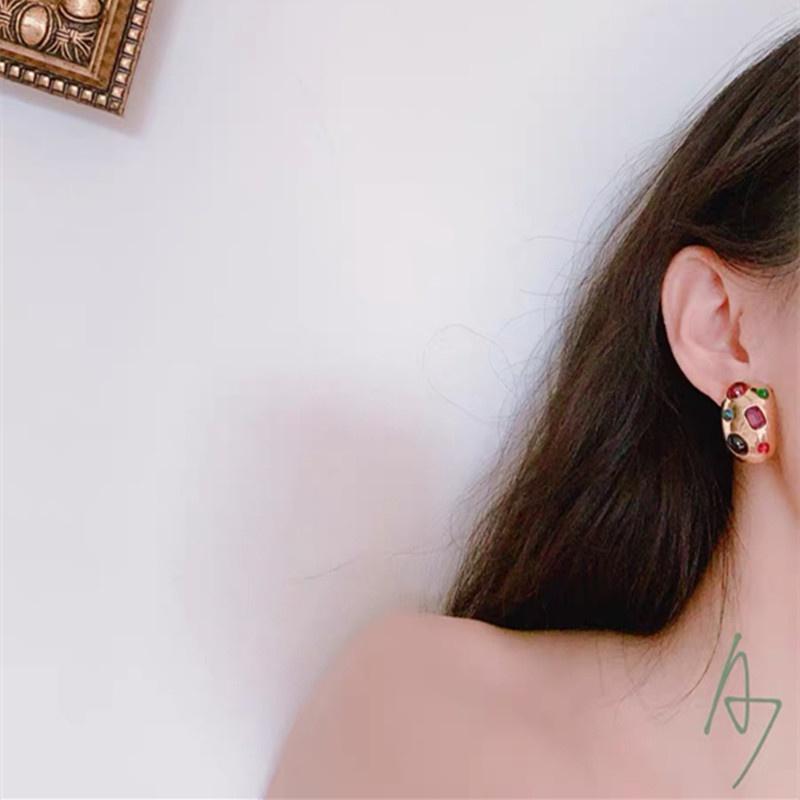 vintage colored gems earrings NHYQ307777