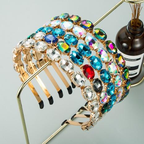 Diadema de vidrio ovalado de una sola fila de aleación de moda NHLN307823's discount tags