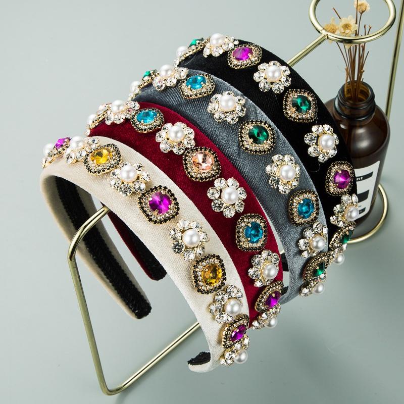 fashion flannel inlaid pearl rhinestone flower headband NHLN307824
