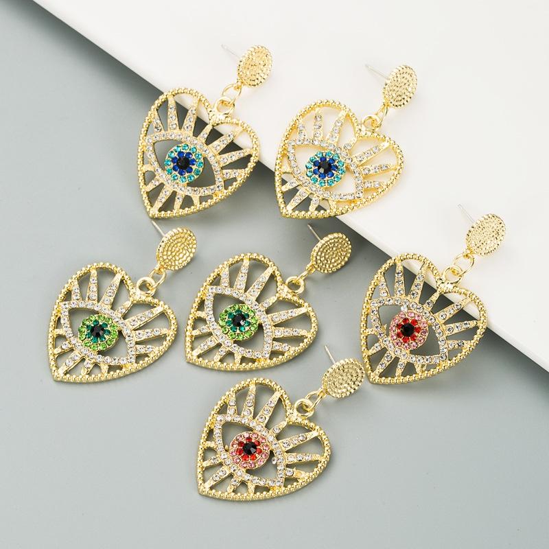 heart-shaped demon eyes full diamond earrings NHLN307829
