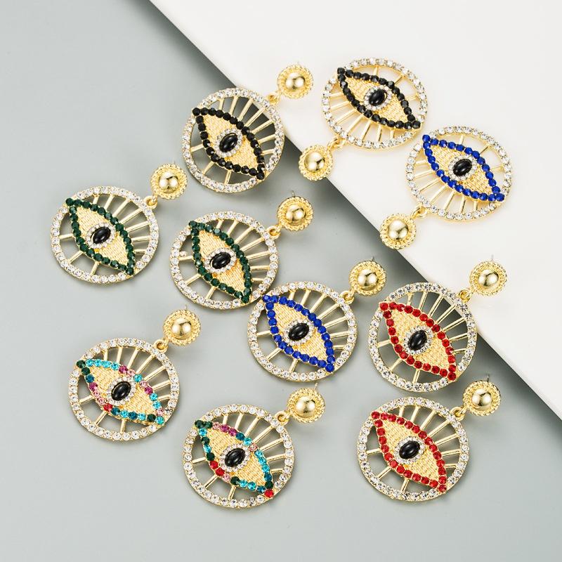 Fashion alloy diamond hollow round retro earrings NHLN307832