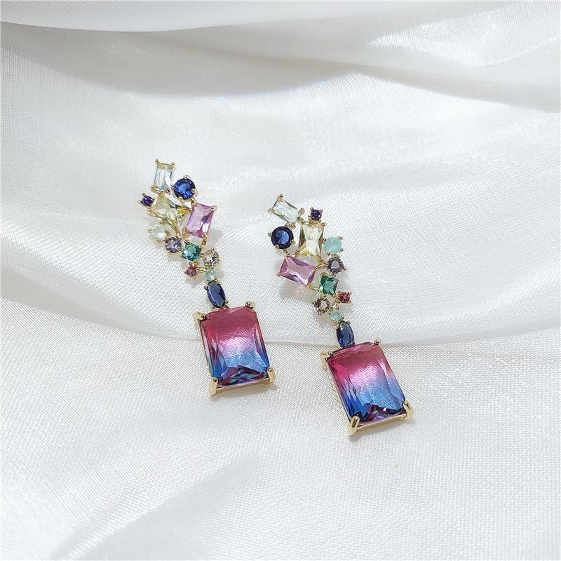 new geometric micro-inlaid zircon earrings  NHVA307839