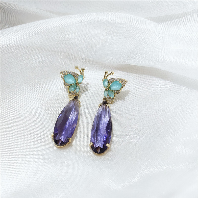 new purple zircon fashion earrings NHVA307843