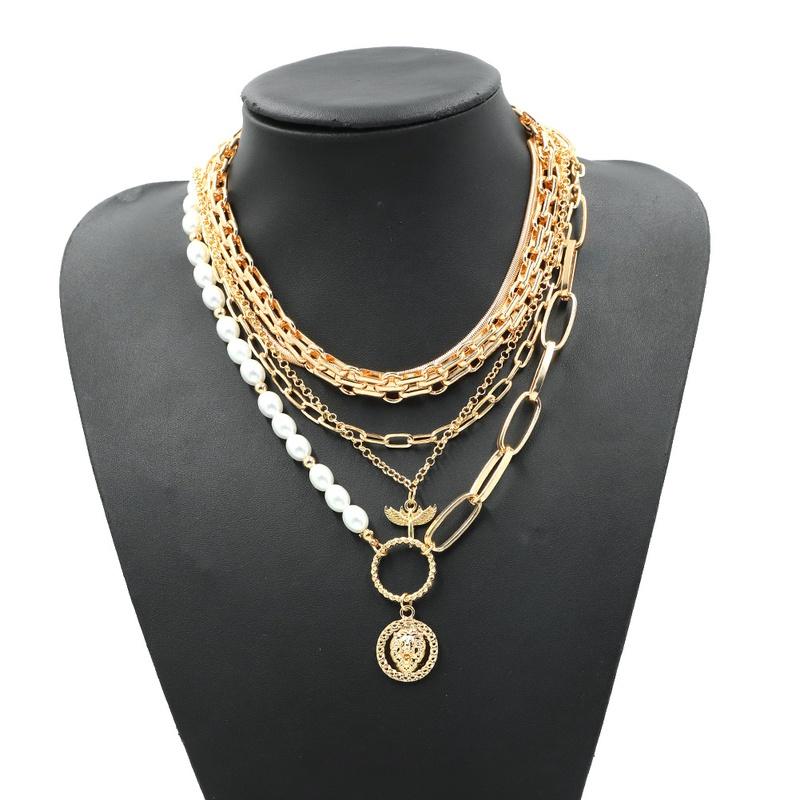 New simple geometric animal multi-layer necklace NHJQ307854