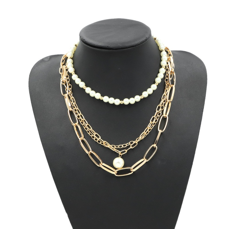 retro pearl simple fashion wild short necklace NHJQ307855