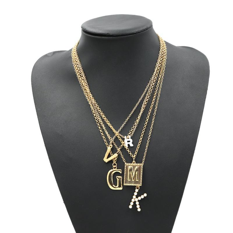 Multi-chain letter pendant necklace  NHJQ307858