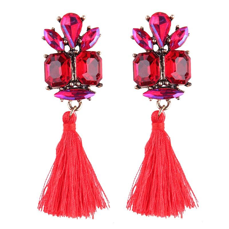 Bohemian style tassel colored gemstones earrings NHJQ307859