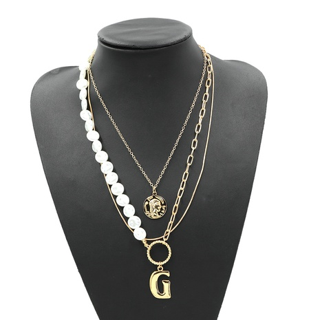 simple double pearl letter G exaggerated necklace NHJQ307861's discount tags