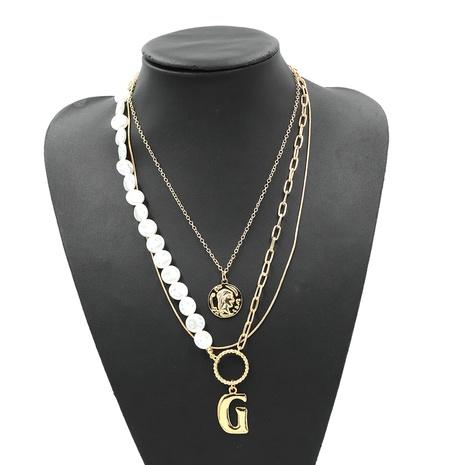 einfache doppelte Perle Buchstabe G übertriebene Halskette NHJQ307861's discount tags