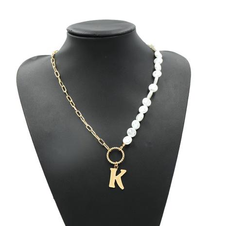 einfache Metallperle Doppelstück kreative Halskette NHJQ307862's discount tags