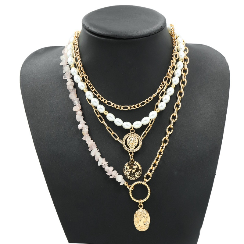 Multilayer fashion creative ethnic style pearl stone necklace  NHJQ307863