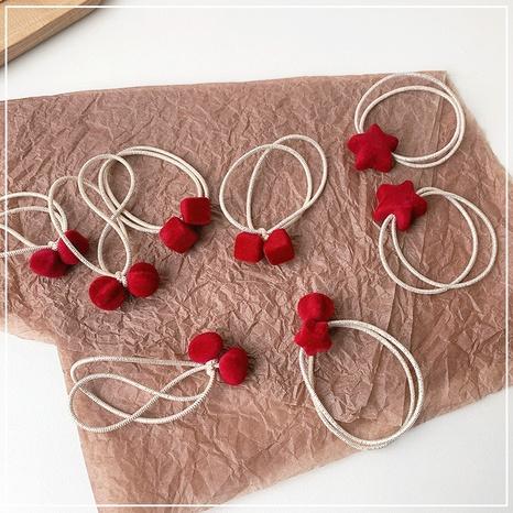 Corde à cheveux en peluche velours sauvage rouge NHOF307883's discount tags