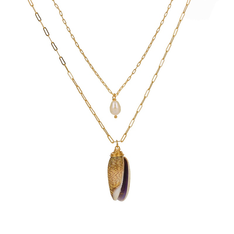 freshwater pearl pendant multi-layer necklace  NHAN307885