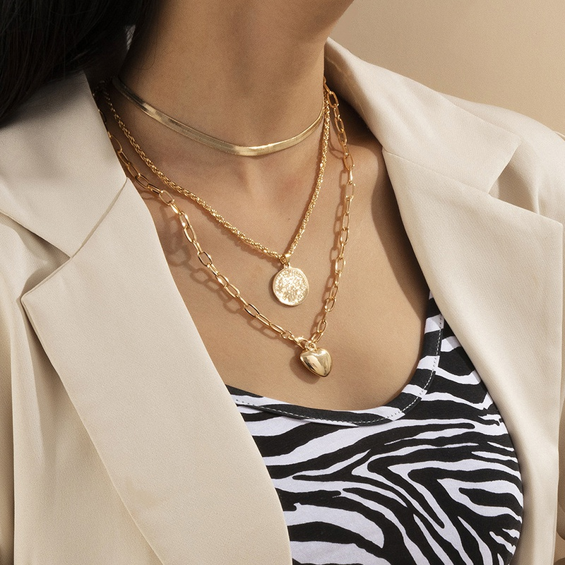 simple retro snake round necklace  NHXR307904