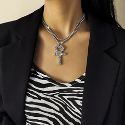 simple full claw chain cross peach heart necklace NHXR307906