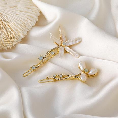 épingle à cheveux fleur perle en gros NHMS307916's discount tags