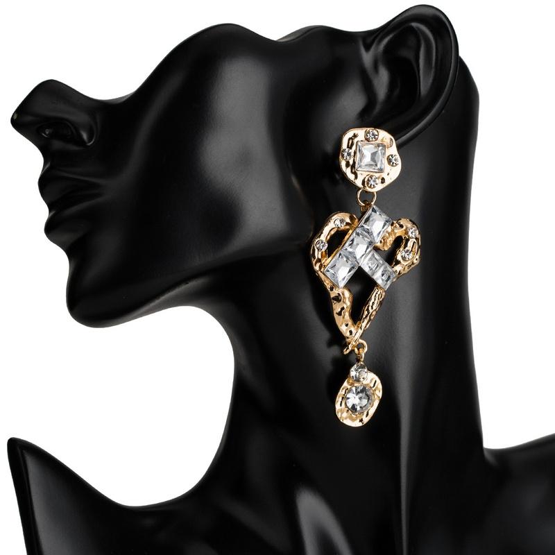 creative new alloy diamond-studded earrings wholesale NHJE307965