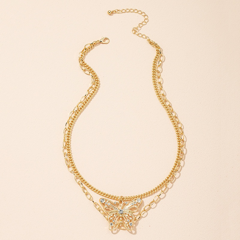 new fashion super fairy diamond butterfly necklace NHAI307982