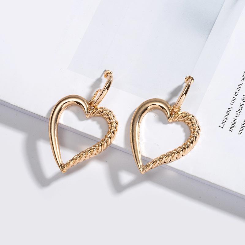 fashion metal heart simple earrings wholesale NHAI307998