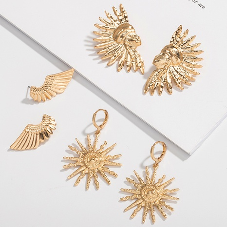 simple exaggerated retro wings earrings NHAI308000's discount tags
