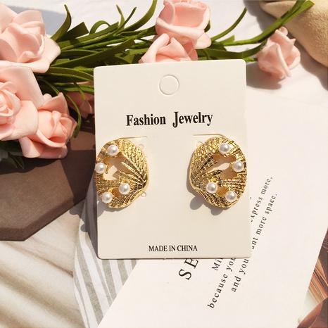 fashion pearl creative hollow scallop alloy earrings NHAI308008's discount tags