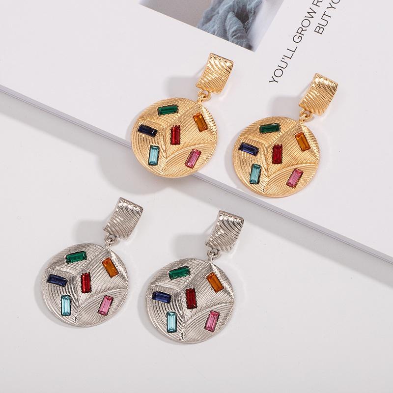 Bohemian retro geometric double round alloy diamond earrings  NHAI308010