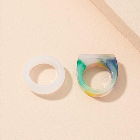 ensemble de bagues acryliques en résine simple rétro NHAI308016's discount tags