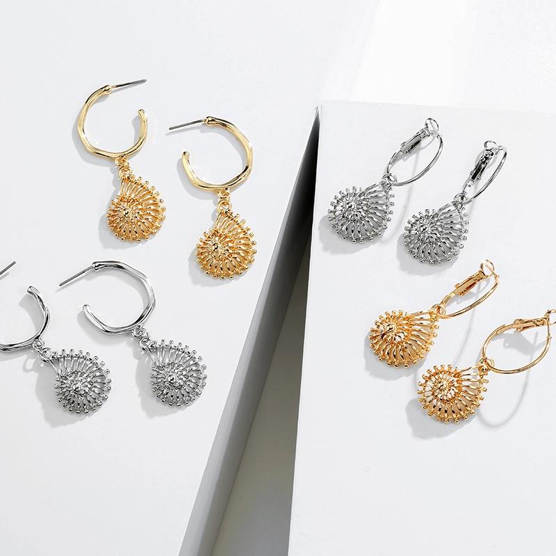 simple alloy conch shell shape earrings NHAI308024