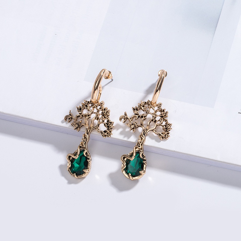 rhinestone creative new life tree earrings NHAI308034