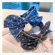 retro bow-knot polka-dot denim blue headband NHHD308046