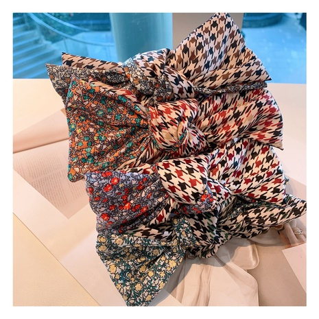 retro wide-brimmed floral bow fashion headband NHHD308048's discount tags