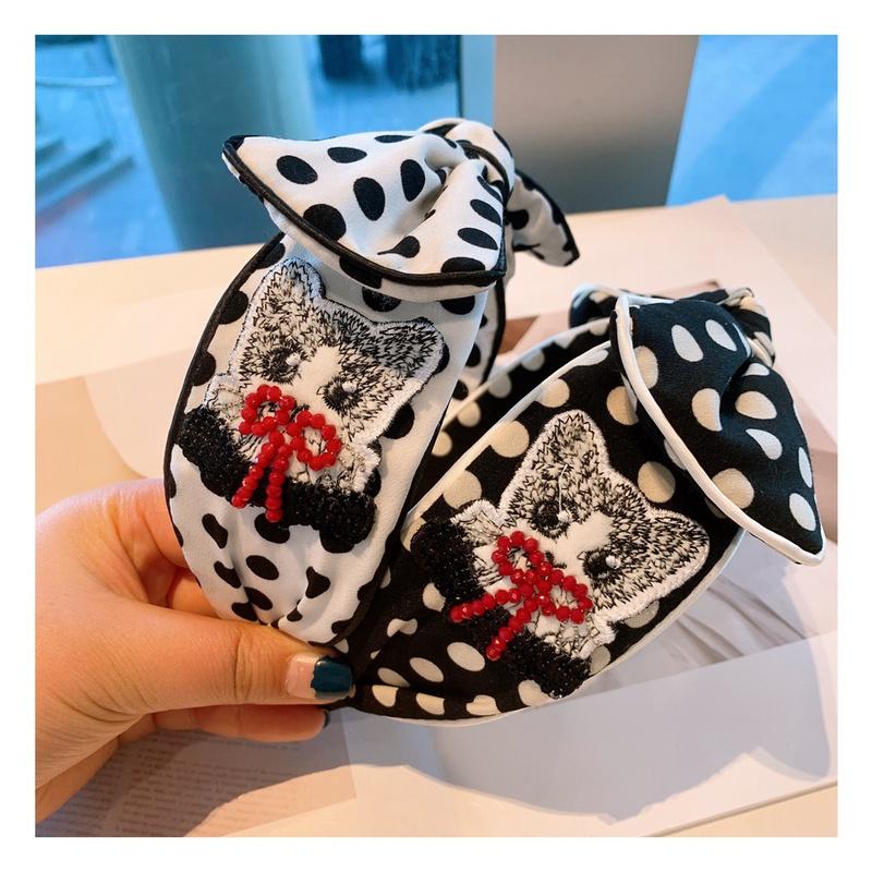 wide-sided embroidery bowknot cartoon headband NHHD308050