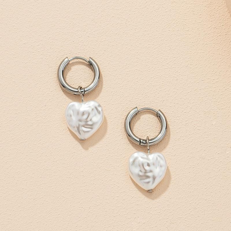 fashion pearl heart earrings NHGU308055