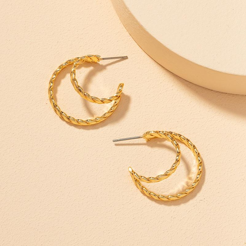 fashion double metal C earrings NHGU308066