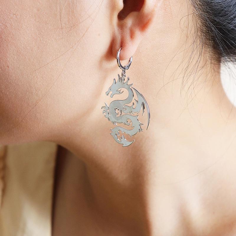 fashion metal dragon earrings  NHGU308069