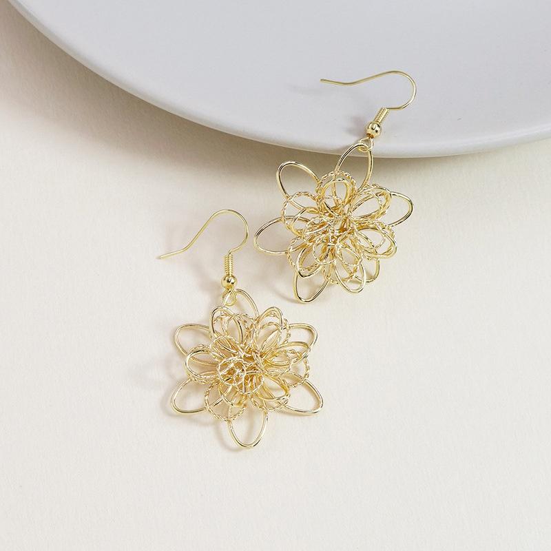 fashion metal wire flower earrings  NHGU308071