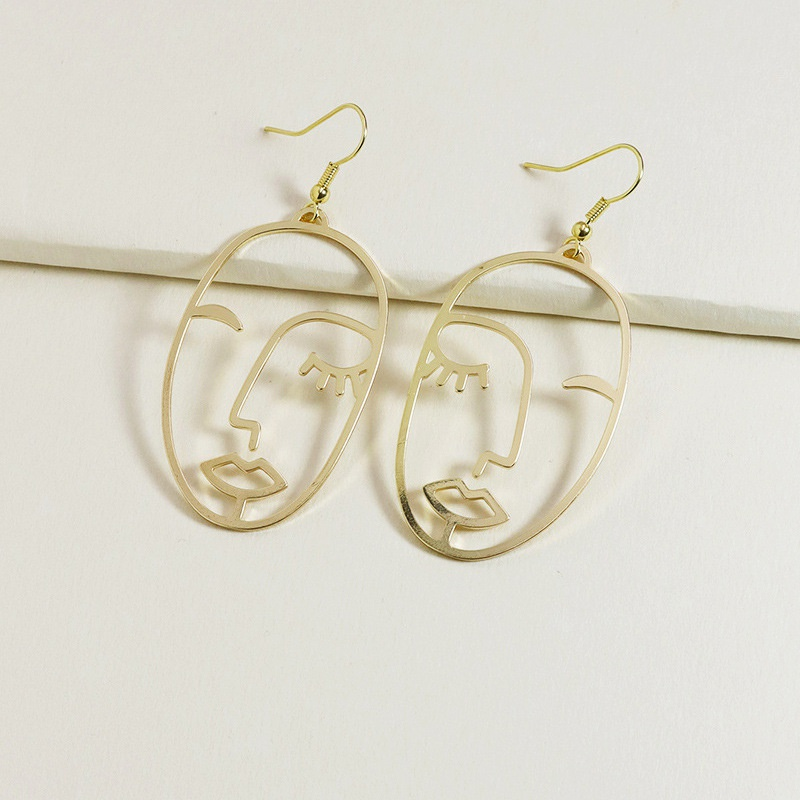 fashion metal face earrings  NHGU308074