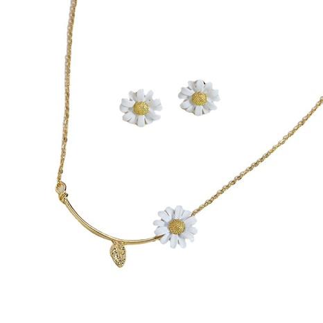 Mode Gänseblümchen Ohrringe Halskette Set NHGU308077's discount tags