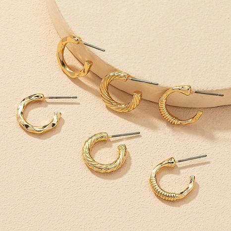 Mode Metall C-förmige kleine Ohrringe 3 Paar Set NHGU308082's discount tags
