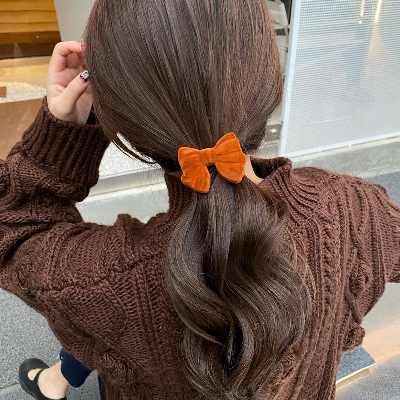 retro velvet bow hair rope hairpin NHCQ308084