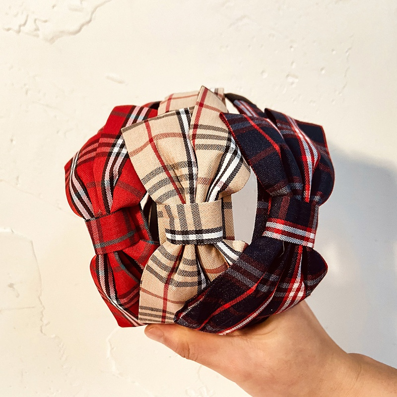 bow plaid anti-skid headband  NHCL308099