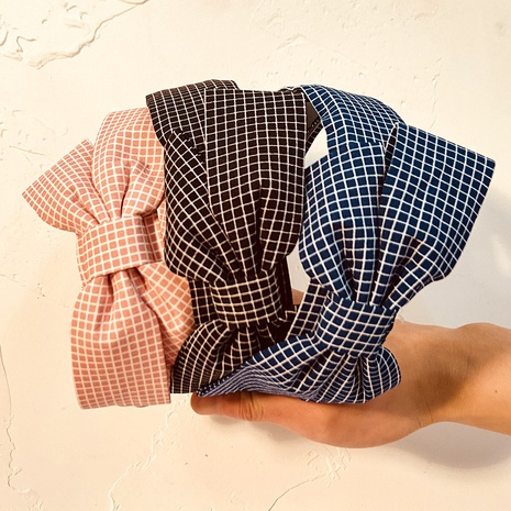 Bowknot Plaid Retro Stirnband NHCL308100's discount tags
