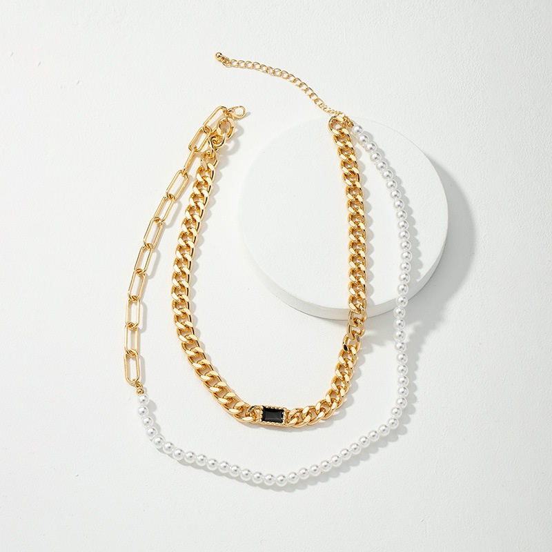 retro simple double-layer pearl necklace NHQJ308136