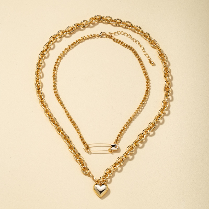Double layered heart-shaped pin new necklace  NHQJ308141