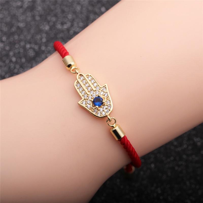 Creative Zircon Palm Demon Eye Red Adjustable Bracelet NHYL308176