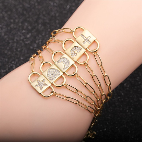 simple zircon rainbow moon star cross love bracelet NHYL308177's discount tags